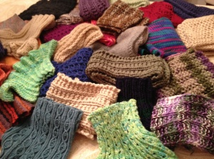A sampling of some of the finished scarves.